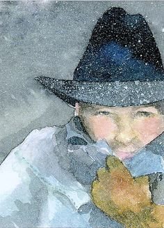 Cowboy in Snow  - by Kim Attwooll -- (art 787475db7a2b