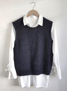 Knit Vest Pattern, Sweater Knitting Patterns, Suit Fashion, Fashion Outfits, Fashion Capsule, Vest Outfits, How To Purl Knit, Korean Outfits, 90s Fashion