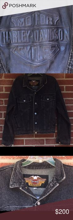 Men's denim and leather vintage Harley jacket M Amazing vintage Harley jacket.  Leather patch on back is amazing.  This coat is in excellent condition.  Rare & very hard to find! Harley-Davidson Jackets & Coats Lightweight & Shirt Jackets