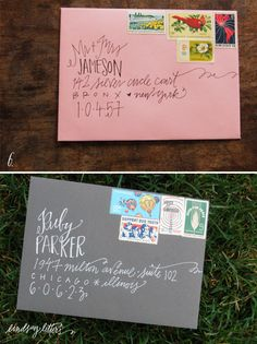 hand-lettering for invitations, Christmas cards, etc Envelope Art, Addressing Envelopes, Mo S, Letter Writing, Crafty Craft, Mail Art, Special Day, Just In Case, Wedding Invitations