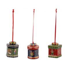 Set 3 decoratiuni brad ornaments mini gift box nostalgic ornaments