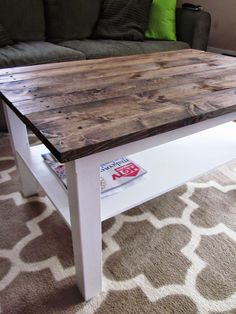 coffee table makeover wood plank table top ikea hack this crazy thing