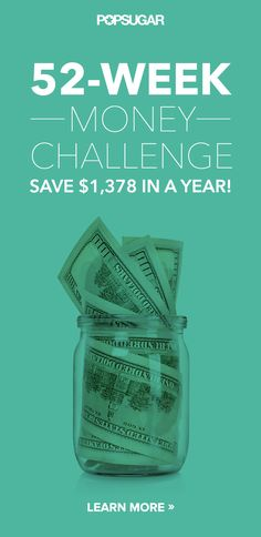 Super easy challenge to save $1,378 in 52 weeks! Comes with a free printable.