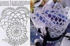 Interesting ideas for decor: Вазы из салфеток Crochet Vase, Love Crochet, Crochet Gifts, Crochet Doilies, Crochet Flowers, Crochet Diagram, Crochet Chart, Crochet Patterns, Crochet Basket Tutorial
