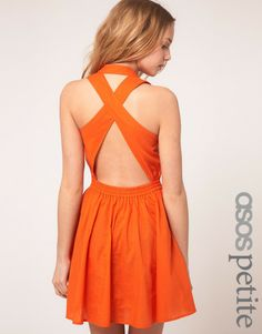 ... Petite Exclusive Cross Back Full Skirted Sun Dress in Orange - Lyst