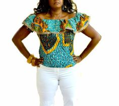 Blue Off Shoulder African print Top