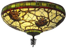 24 Inch W Pinecone Flushmount. 24 Inch W Pinecone flush mountBring the great outdoors into your home with this stunning pinecone Ceiling fixture featuring a pinecone and branches motif. As Meyda continues to Green, our new fixture utilizes energy efficient compact fluorescent lamps to save energy costs and minimize re-lamping time and efforts. Beautiful natural stained glass colors come alive in Sunrise Beige, Moss Green,Autumn Leaf Burgundy and Woodland Brown. Its skirt...