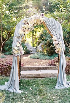 Dusty Blue Wedding Ideas - Dusty Blue Arch with Flowers