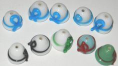 10 Awareness Fine Handmade Lampwork Glass Beads  Hat by jcraft4you