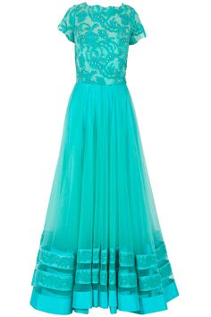 Aquamarine lace embroidered tulle anarkali available only at Pernia's Pop-Up Shop.