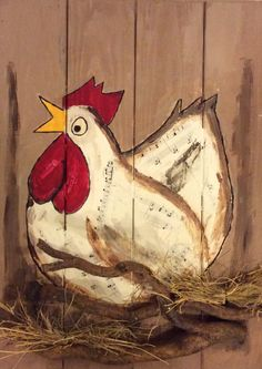 Paneel Painted Pots, Hand Painted, Chicken Drawing, Garden Mural, Wood Pallet Art, Chicken Crafts, Chickens And Roosters, Country Art, Coq