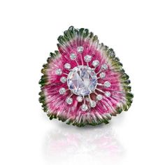 Leviev-carved-watermelon-tourmaline-and-diamond-ring-front