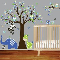 Owl tree decal vinyl wall decal giraffe elephant by wallartdesign