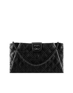 CHANEL - Clutch Bag - Studded lambskin clutch bag with a removable chain.  Chanel Clutch 41f428f293