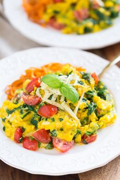 Veggie Scrambled Eggs with Aged White Cheddar | Get Inspired Everyday!