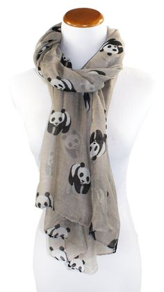 Modern Minute - Perfect Panda Print Scarf in Tan