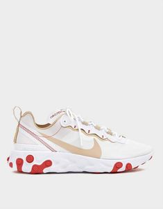 Buy the Nike React Element 55 Sneaker in White at Need Supply Co. Older Women Fashion, Womens Fashion, Fashion Edgy, Sneakers Fashion, Sneakers Nike, White Sneakers, Shoe Size Conversion, Women Brands, White Nikes