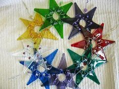 Christmas Ornament  / Glass Star  / Suncatcher / Ruby Red with Reddish Orange accent beads by IntheShadeoftheSycamoreTree, $17.00 USD