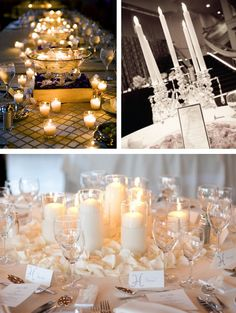 Table arrangement #2 Pillar candles in cylinders with actual floral surrounded, not petals--bottom picture