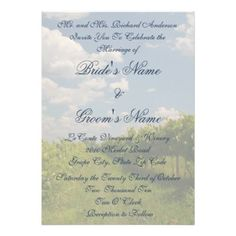 Vineyard Wine Winery Wedding Invitation