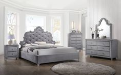 Shop Meridian Furniture Sophie Grey Master Bedroom Set with great price, The Classy Home Furniture has the best selection of Master Bedrooms to choose from Full Size Bedroom Sets, Master Bedroom Set, 5 Piece Bedroom Set, King Bedroom Sets, Master Bathroom, Upholstered Bedroom Set, Upholstered Platform Bed, Bedroom Furniture Sets, Bedroom Ideas