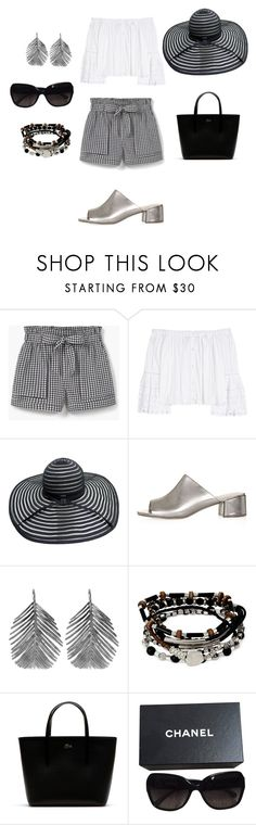 """""""Labor Day! Peasant Top and shorts"""" by ical-rox on Polyvore featuring MANGO, Carolina Herrera, Topshop, Alex Monroe, Kenneth Cole, Lacoste and Chanel"""