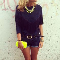 Neon clutch & necklace