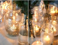 Take mason jars and coat with glitter to make the candles really sparkle