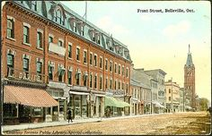 Front Street, Belleville, Ontario, Canada Creator: Jennings and Sherry, The Book and Gift Shop Date: 1910 Identifier: PC-ON 190 Format: Postcard Rights: Public domain Courtesy: Toronto Public Library You can order order a print or high-resolution copy. Oh The Places You'll Go, Great Places, Amazing Places, Belleville Ontario, The Good Place, Toronto, Architecture Design, Street View, Canada