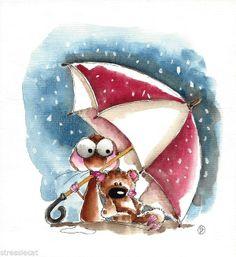 Original watercolor painting art illustration mouse teddy bear snow umbrella red