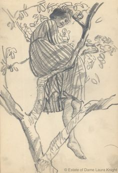 Study of a model relaxing in tree, probably ca. 1916 pencil on wove paper, Laura Knight.