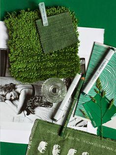 Galet fina gröna moodboard. Inspiration stylad av Lotta Agaton i sommarnumret av Residence. Älskar! Styling Lotta Agaton   Photo Pia Ulin   Residence Magazine