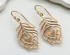 Gold Peacock Feather Earrings, Small Bronze - pinned by pin4etsy.com