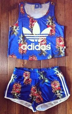 pineapple blue addidas two piece set  Wheretogetit