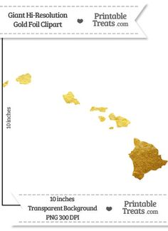 Gold Foil Giant Hawaii State Clipart from PrintableTreats.com
