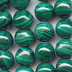 11015-6S  Malachite 6mm Round Beads, 16 inch Strand  If you are looking for a truly one-of-a-kind green gemstone, you've found it with Malachite.  Our 6mm rounds are completely natural and feature banding on each bead of medium to dark green.  The 16 inch strand is about 20% less than the 10 pack price.