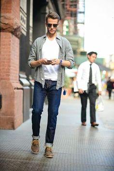 Men's Grey Long Sleeve Shirt, White V-neck T-shirt, Navy Jeans, Dark Brown Leather Desert Boots