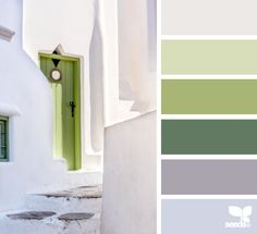 Muted spring color palette inspired by white and green architecture
