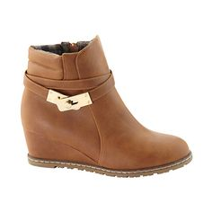 Bella Marie Tan Chloe Wedge Bootie ($25) ❤ liked on Polyvore featuring shoes, boots, ankle booties, ankle boots, short wedge boots, wedge heel ankle boots, tan booties and short boots