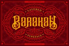 http://Inspired by vintage tattoo design, Barakah is an absolutely stunning and eye-catching typeface. This multi-layered Victorian font is suitable for a wide range of modern and classic designs, with its romantic and bold formation, as well as its attention to detail. Add Barakah, a stunning display font, to your collection today.