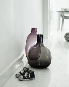 Holmegaard glass, smoky grey and aubergine vases. From urban kaleidoscope.com