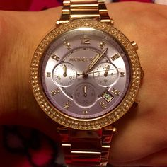 Rose gold and lavender MK Michael kors watch.