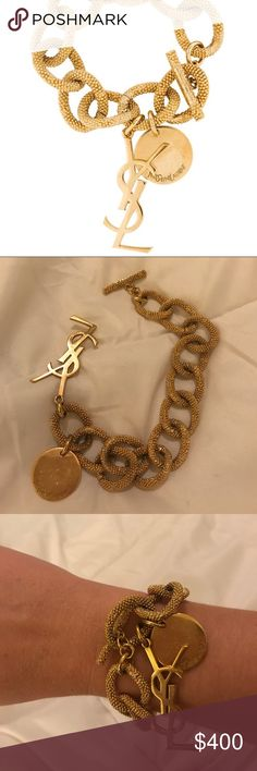 """YSL gold bracelet Gorgeous and rare YSL vine bracelet with coin and initials. Gold is in excellent condition (just needs light brush cleaning where chains link together). 100% authentic purchased at YSL in Bal Harbour Shops. I've only worn this 3 or 4 times. Approx 10"""" in length and can be hooked to shorter links. Links approximately 1"""" each. Stunning on! The perfect accessory day or night! Original box and YSL bracelet bag included! Yves Saint Laurent Jewelry Bracelets"""