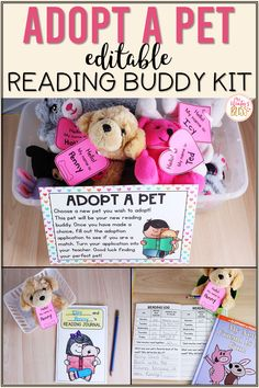 Get students excited about reading at home with this adopt a pet reading buddy kit. Adopting a classroom reading pet builds responsibility and enthusiasm to read more! Students can choose a pet from home or one you offer to adopt! Included in the resource are editable pet adoption signs, directions, adoption applications, pet adoption certificates, daily reading logs and much more! #studnetreadinglogs #adoptapetreadingbuddy #firstgradereading Teaching First Grade, First Grade Reading, Teaching Kindergarten, Teaching Ideas, Preschool, Home Reading Log, Reading Logs, Guided Reading, Reading Lessons