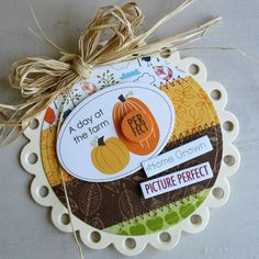 Love the raffia on this charming autumn card. #card #autumn #fall #homemade #raffia #crafts #card_making #scrapbooking #scalloped