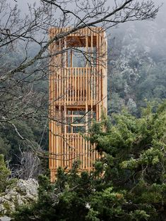 Orma Architettura has built three wooden Corsican Deer Observatories within the Regional Natural Park of Corsica on the Mediterranean island. Architecture Design, Residential Architecture, Landscape Architecture, Nature Sauvage, Lookout Tower, Tower House, Architectural Section, Mountain Style, Traditional Landscape