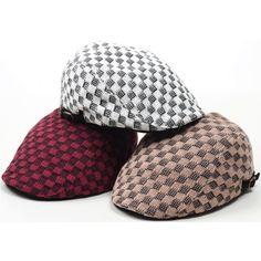 N160 Winter Sweater Warm Knit Newsboy Ascot Golf Club Flat Gatsby Cap Beret Hat