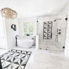 Master Bathroom Layout, Small Bathroom, Bathroom Ideas, Bathroom Organization, Modern White Bathroom, Minimalist Bathroom, Marble Tile Bathroom, Bathroom Flooring, Bathroom Wall