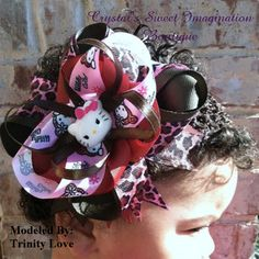 OTT Wildly Cute Hello Kitty Hair Bow by CSIboutique on Etsy, $8.99