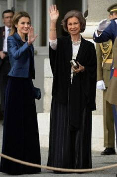 Crown Princess Letizia and Queen Sofia of Spain attends the Pascua Militar Ceremony 2014 at Royal Palace